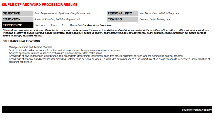 Dtp And Word Processor Resume Template