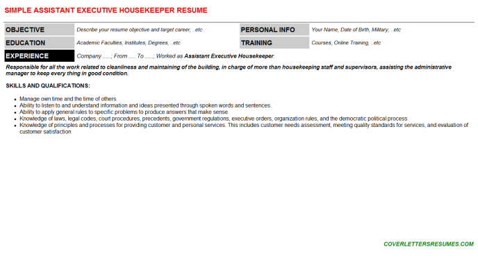 Assistant Executive Housekeeper CV Cover Letter & Resume ...