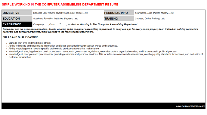 Working In The Computer Assembling Department Resume Template (#7351)