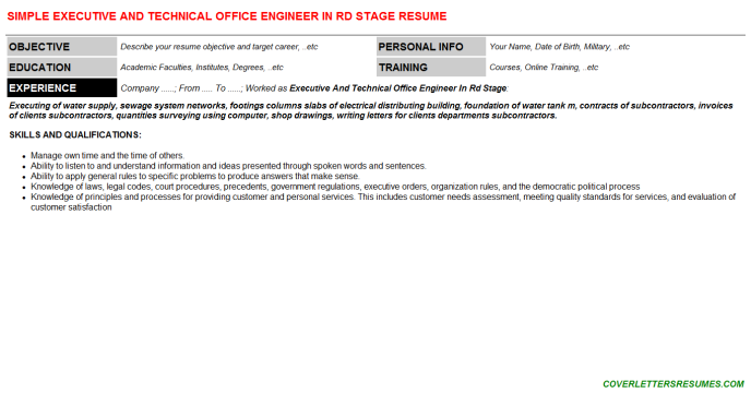 Executive And Technical Office Engineer In Rd Stage Cv Cover