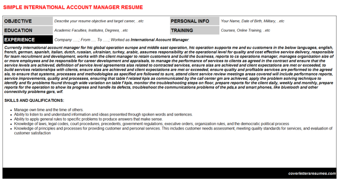 International Account Manager Resume Template (#40352)