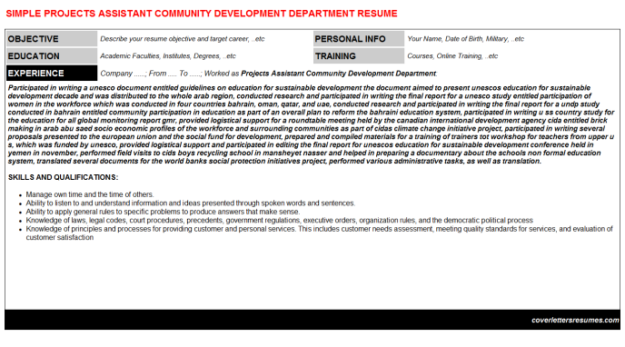Projects Assistant Community Development Department Resume Template