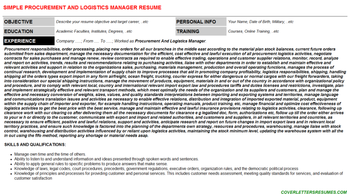 Procurement And Logistics Manager Resume Template (#354)