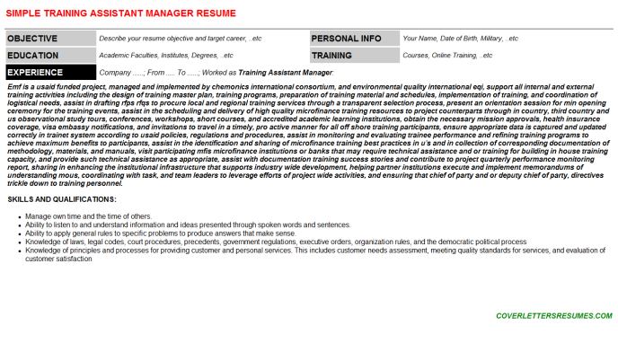 Training Assistant Manager Resume Template
