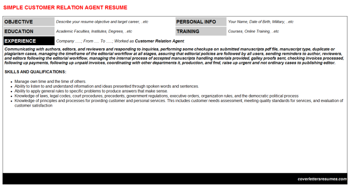 Customer Relation Agent Resume Template