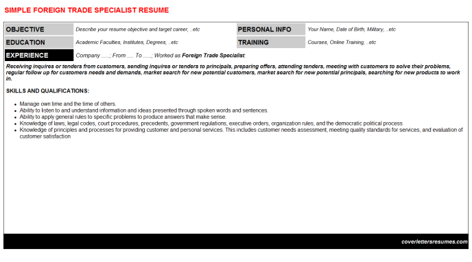 Foreign Trade Specialist Resume Template