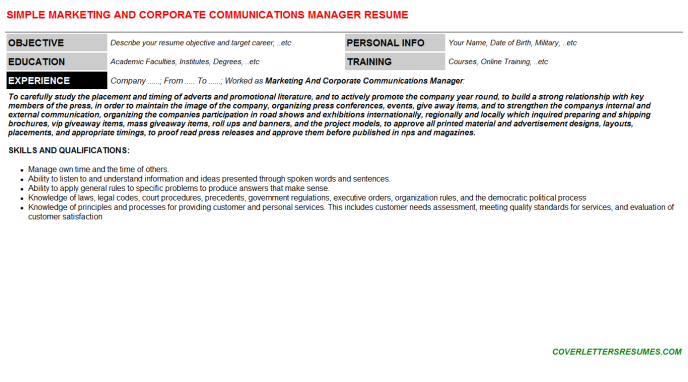 Marketing And Corporate Communications Manager Resume Template