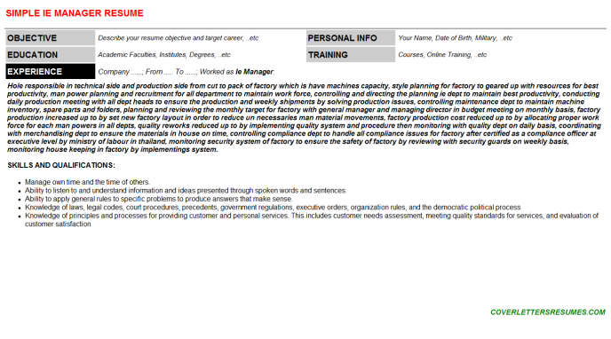 Ie Manager Resume Template (#39857)