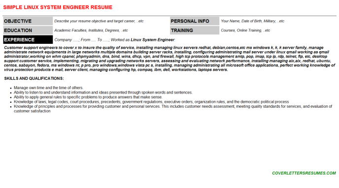 Linux System Engineer CV Cover Letter & Resume Template