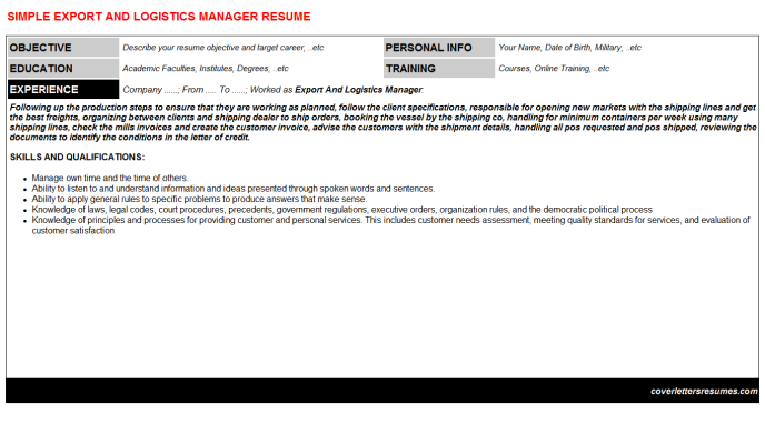 Export And Logistics Manager Resume Template