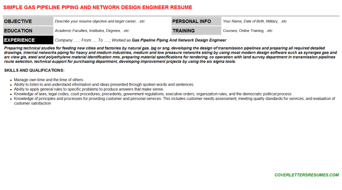 Gas Pipeline Piping And Network Design Engineer Resume Template