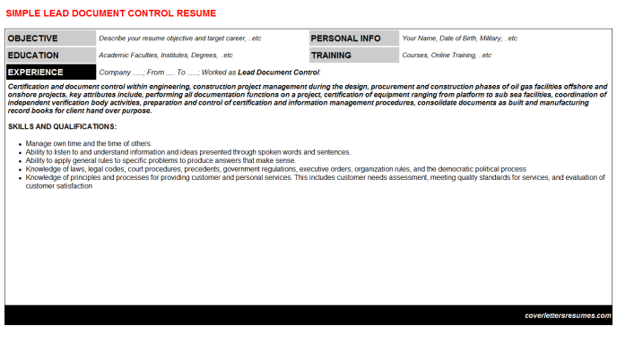Lead Document Control Resume Template
