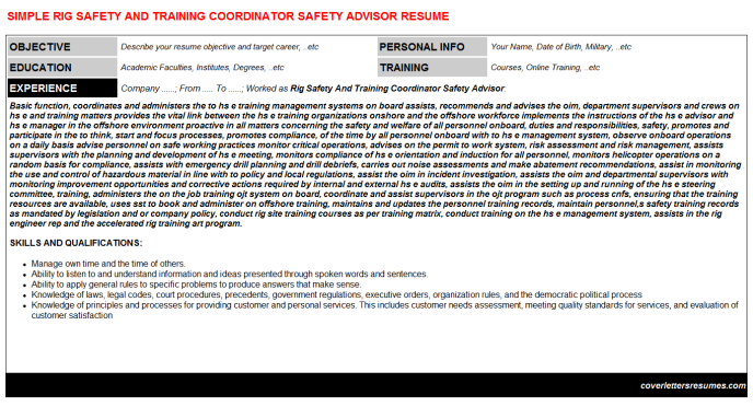 Rig Safety And Training Coordinator Safety Advisor Resume Template (#3858)
