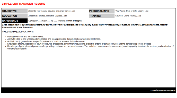 Unit Manager Resume Template (#7358)
