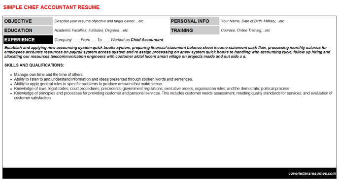 Chief Accountant Resume Template (#23035)