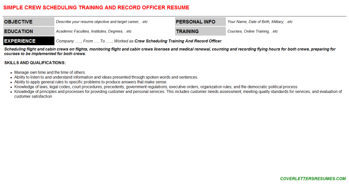 Crew Scheduling Training And Record Officer Resume Template 49035