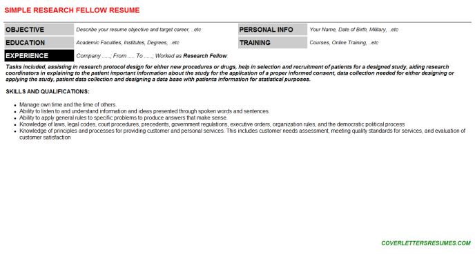 Research Fellow Resume Template