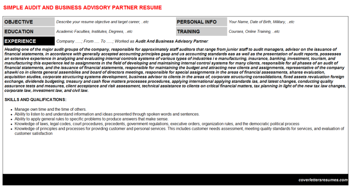 Audit And Business Advisory Partner Resume Template (#6859)