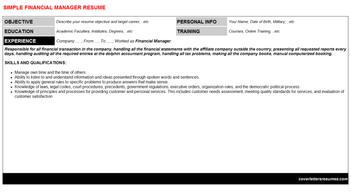 Financial Manager Resume Template (#1359)