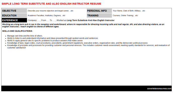 Long Term Substitute And Also English Instructor Resume Template (#42860)