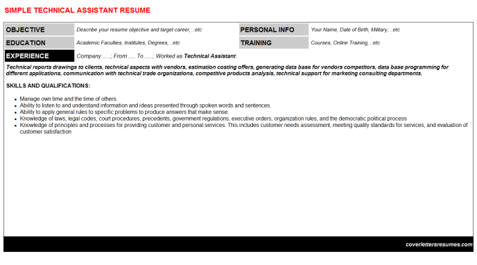 Technical Assistant Resume Template (#56360)