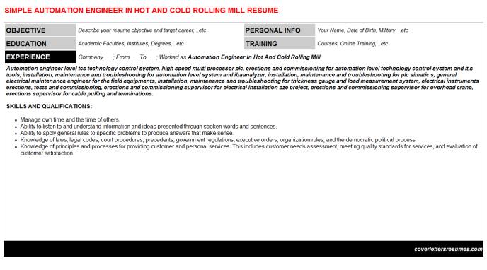 Automation Engineer In Hot And Cold Rolling Mill Resume Template (#23361)