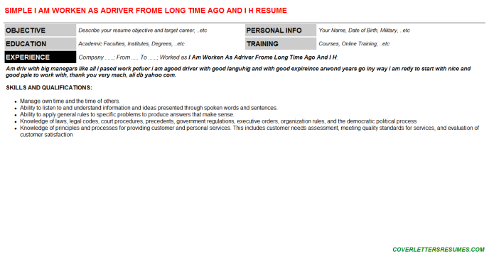 I Am Worken As Adriver Frome Long Time Ago And I H Resume Template (#34361)