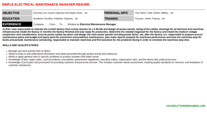 Electrical Maintenance Manager Resume Template (#25363)