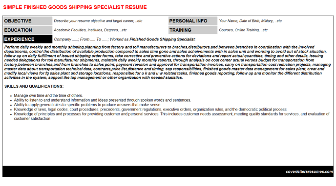 Finished Goods Shipping Specialist Resume Template