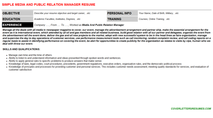 Media And Public Relation Manager Resume Template