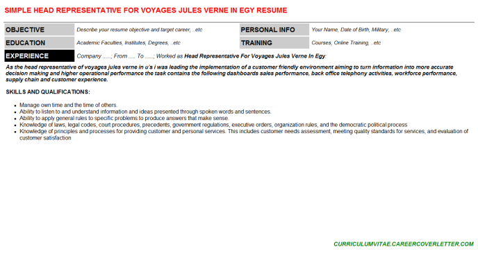 Head Representative For Voyages Jules Verne In Egy Resume Template (#110364)
