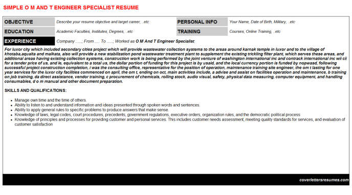 O M And T Engineer Specialist Resume Template