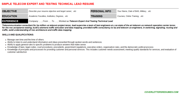 Telecom Expert And Testing Technical Lead Resume Template