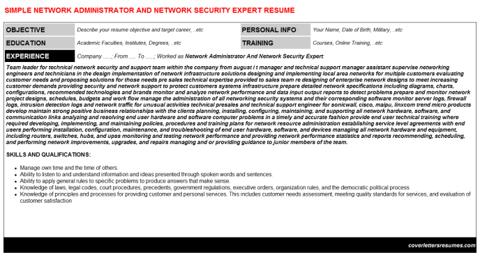 Network Administrator And Network Security Expert CV Cover Letter ...