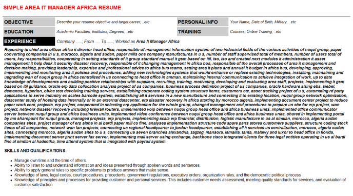 Area It Manager Africa Resume Template (#38367)