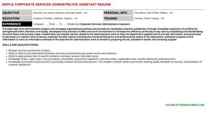 Corporate Services Administrative Assistant Resume Template (#47867)