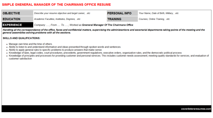 Gneneral Manager Of The Chairmans Office Resume Template (#45367)
