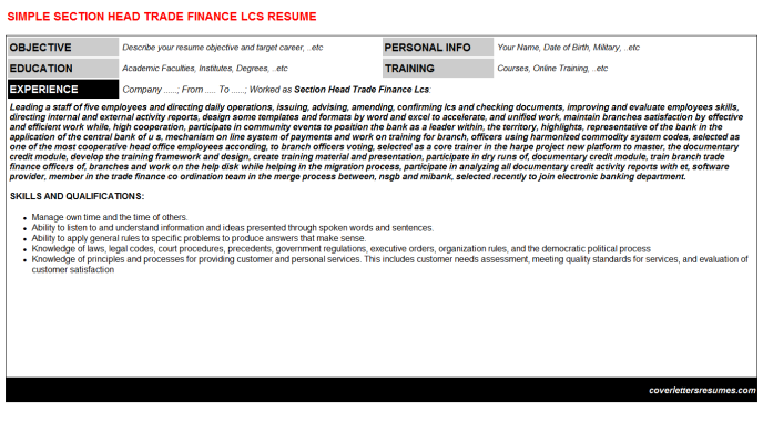 Section Head Trade Finance Lcs Resume Template (#16367)