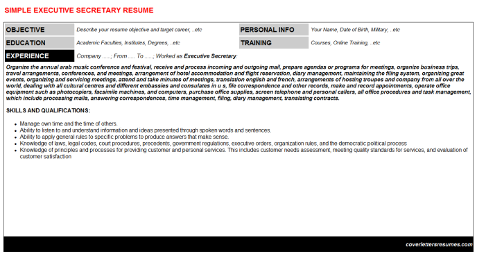 Executive Secretary Resume Template