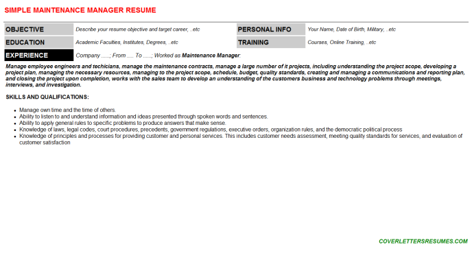 Maintenance Manager Resume Template (#137368)
