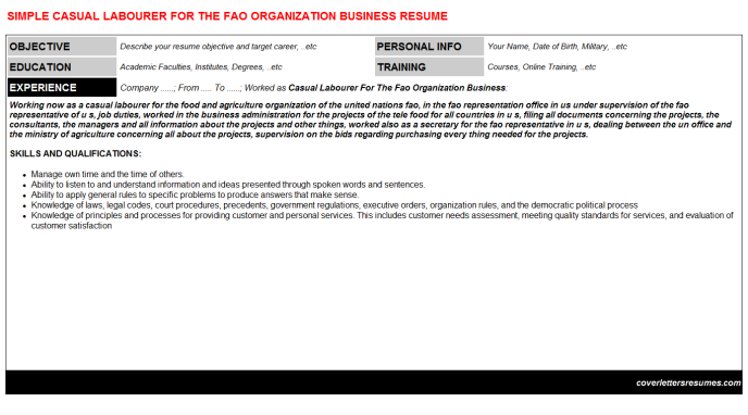 Casual Labourer For The Fao Organization Business Resume Template