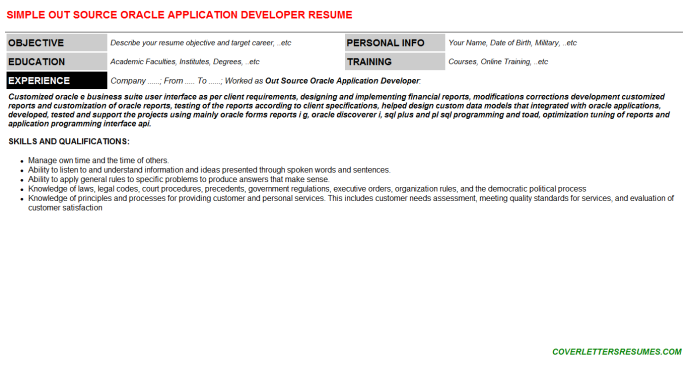 Out Source Oracle Application Developer Resume Template