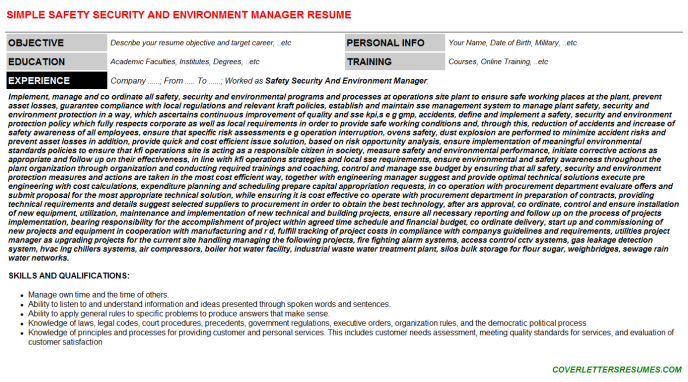 Safety Security And Environment Manager Resume Template (#8036)