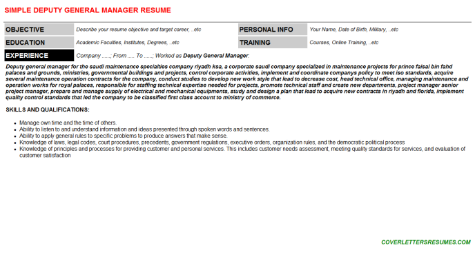 Deputy General Manager Resume Template (#74371)