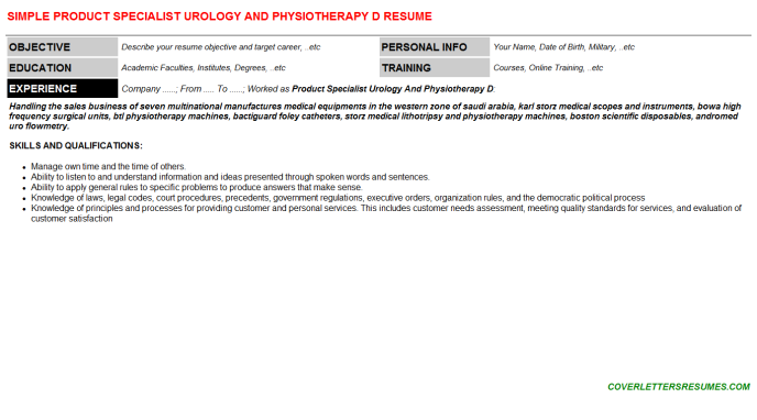 Product Specialist Urology And Physiotherapy D Resume Template (#37372)