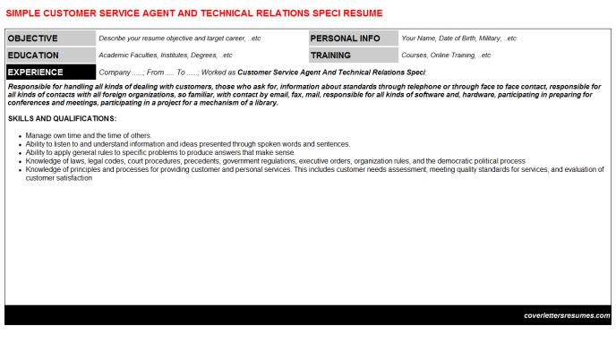 Customer Service Agent And Technical Relations Speci Resume Template (#60375)
