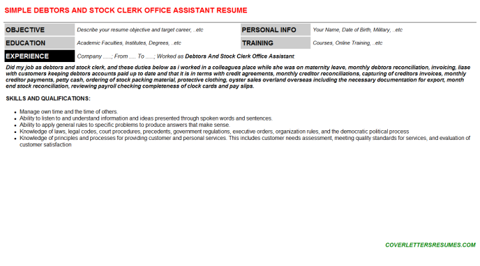 Debtors And Stock Clerk Office Assistant CV Cover Letter ...