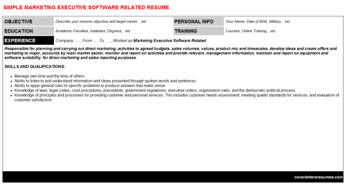Marketing Executive Software Related Resume Template (#43877)