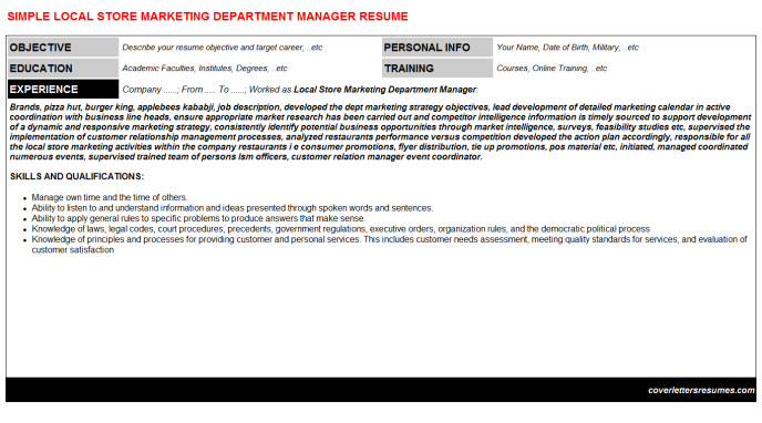 Local Store Marketing Department Manager Resume Template (#24378)