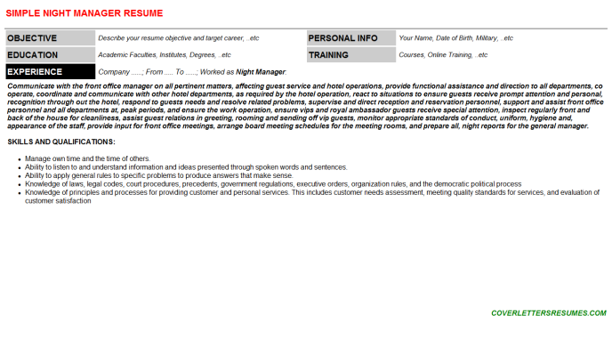 Night Manager Resume Template
